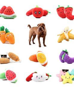 Squeaking Fruit Vegetable Chicken Drum Bone Toy For Puppys