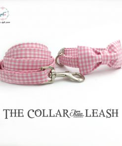 Pink and white dog collar and leash