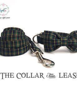he christmas green plaid dog collar and leash