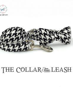 Black & White bowtie dog collar and leash