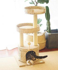 Small Natural tail Rattan Climbing Shelf Luxury Villa