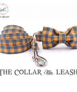 The Orange plaid dog collar leash